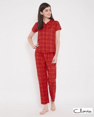 Shop Clovia Classic Checks Button Me Up Shirt & Pyjama in Red- 100% Cotton-Front