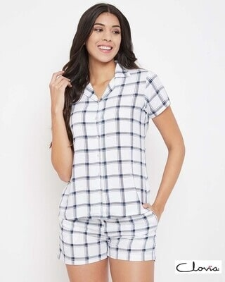 Shop Clovia Classic Checks Button Me Up Shirt & Shorts in White - Rayon-Front