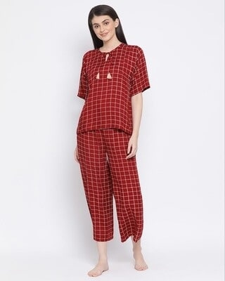 Shop Clovia Classic Checks Top & Pyjama in Maroon-Front