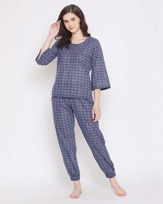 Shop Clovia Classic Checks Top & Pyjama in Slate Blue-Front