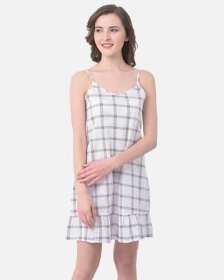 Shop Clovia Classy Checks Sleep Dress in White- 100% Cotton-Front