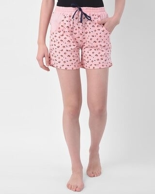 Shop Clovia Clovia Print Me Pretty Boxer Shorts in Peach - Cotton Rich-Front