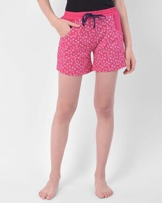 Shop Clovia Clovia Print Me Pretty Boxer Shorts in Pink- Cotton Rich-Front
