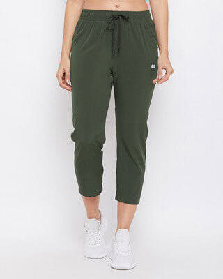 Shop Clovia Comfort Fit Active Capri in Olive Green-Front