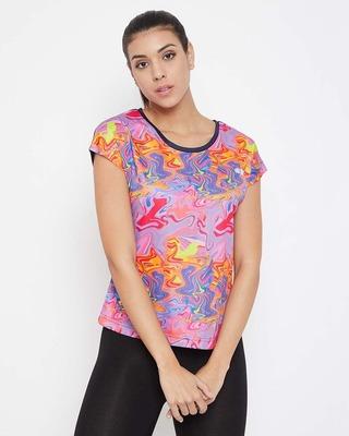 Shop Clovia Comfort Fit Active Marble Print T-shirt in Multicolour-Front