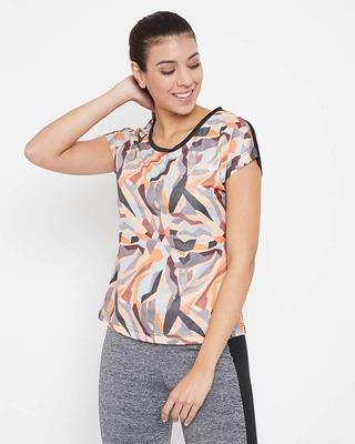 Shop Clovia Comfort Fit Active Printed T-shirt in Multicolour-Front