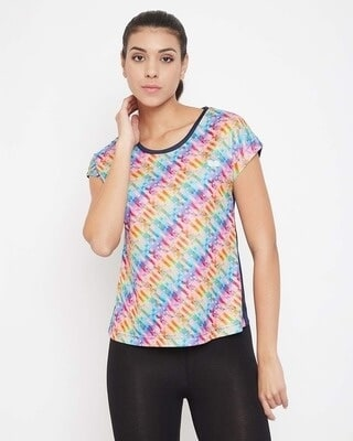 Shop Clovia Comfort Fit Active Printed T-shirt in Rainbow-Colour-Front