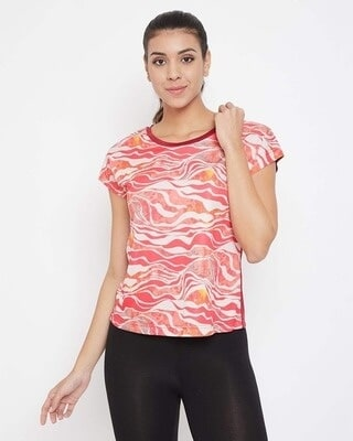 Shop Clovia Comfort Fit Active Printed T-shirt in Red-Front