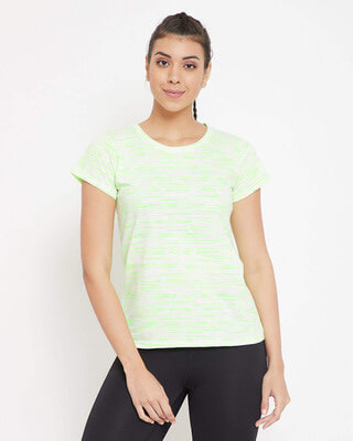 Shop Clovia Comfort Fit Active Printed T-shirt in White - Cotton Rich-Front