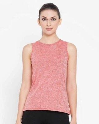 Shop Clovia Comfort Fit Active Sleeveless T-Shirt in Coral Red-Front