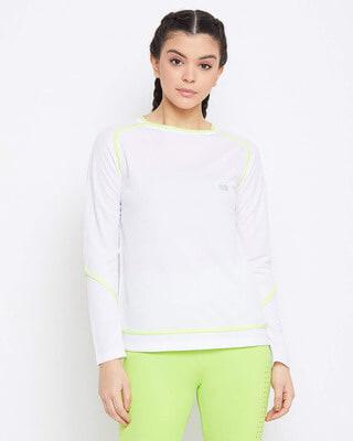 Shop Clovia Comfort Fit Active T-shirt in White-Front
