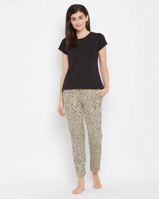 Shop Clovia Cotton Animal Print Pyjama & Basic T-shirt Set-Front