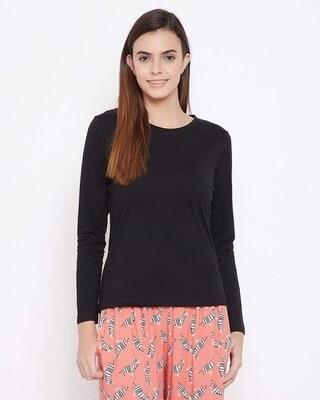 Shop Clovia Cotton Chic Basic Full Sleeve T-shirt-Front