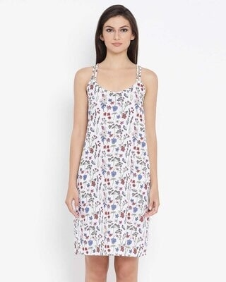 Shop Clovia Cotton Floral Print Short Nightdress with Crossback In White-Front