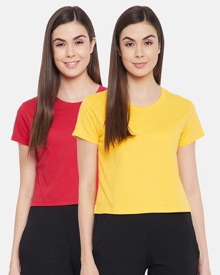 Shop Clovia Cotton Pack of 2 Chic Basic Cropped Sleep T-shirt - Red & Yellow-Front