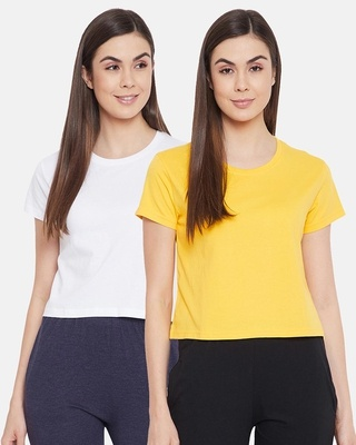 Shop Clovia Cotton Pack of 2 Chic Basic Cropped Sleep T-shirt - Yellow & White-Front