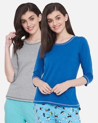 Shop Clovia Cotton Pack of 2 Chic Basic T-shirt - Grey & Blue-Front