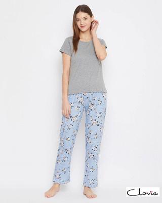 Shop Clovia Cotton Printed Pyjama & Solid T-Shirt-Front