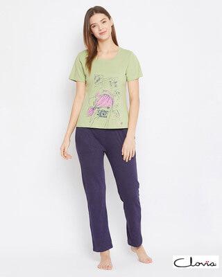 Shop Clovia Cotton Printed T-Shirt & Solid Pyjama Set-Front