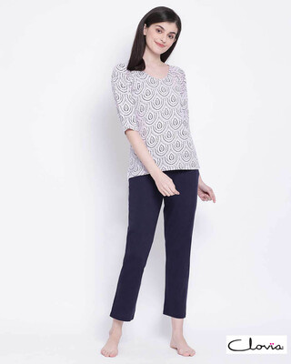 Shop Clovia Cotton Printed Top & Basic Pyjama Set-Front