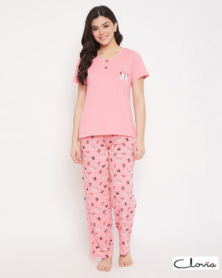 Shop Clovia Cotton Printed Top & Pyjama Set-Front