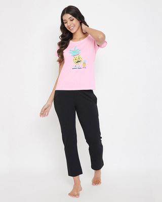 Shop Clovia Cotton Printed Top & Pyjama Set-Front