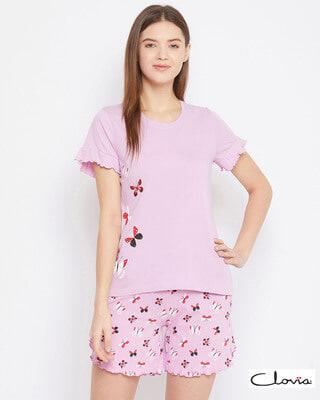 Shop Clovia Cotton Printed Top & Shorts Set-Front