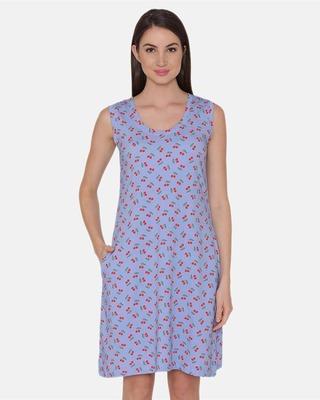 Shop Clovia Cotton Rich Cherry Print Short Night Dress In Blue-Front