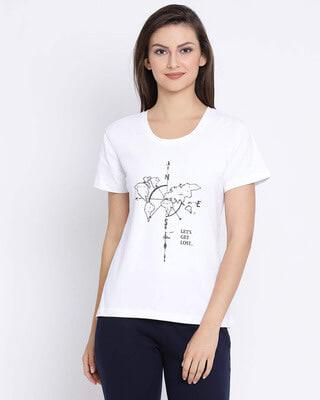 Shop Clovia Cotton Rich Chest Print T-Shirt In White-Front