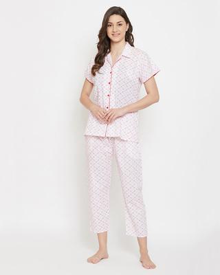 Shop Clovia Cotton Rich Printed Button Down Shirt & Pyjama Set-Front