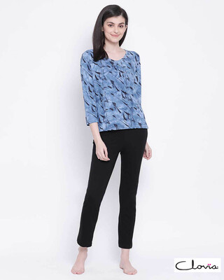 Shop Clovia women Cotton Rich Pyjama & Top set-Front
