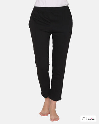 Shop Clovia Cotton Rich Pyjama In Black-Front