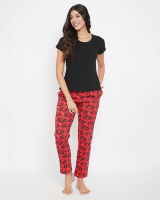 Shop Clovia Cotton Rich Sleep T-Shirt & Printed Pyjama Set-Front