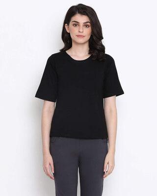 Shop Clovia Cotton Rich Sleep T-Shirt In Black-Front