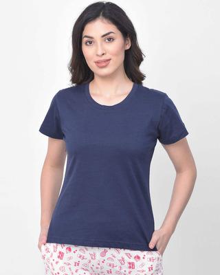 Shop Clovia Cotton Rich Sleep T-Shirt In Blue-Front