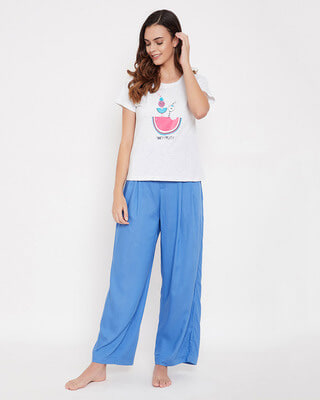 Shop Clovia Cotton Tooty Fruity Top & Wide Leg Pyjama Pants - Grey & Blue-Front