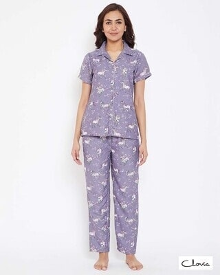 Shop Clovia Crepe Printed Button Down Shirt & Pyjama-Front