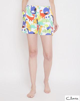 Shop Clovia Dinosaur Print Boxer Shorts in Multicolour -Front