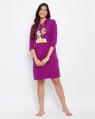 Shop Clovia Emoji Print Hooded Sleep Tee in Dark Purple-Front