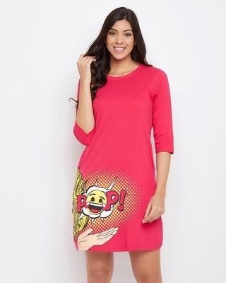 Shop Clovia Emoji Print Sleep Tee in Pink-Front