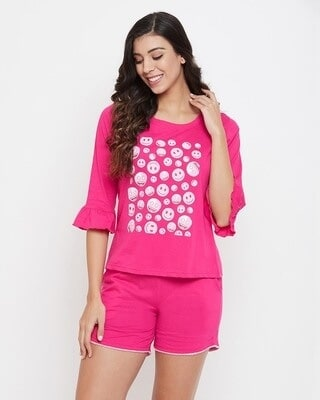 Shop Clovia Emoji Print Top & Solid Shorts Set in Magenta-Front