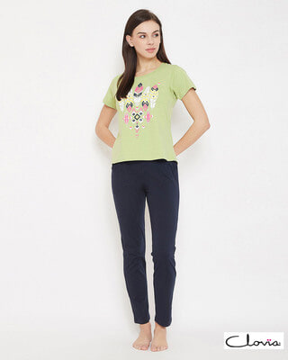 Shop Clovia Feather Print Top & Pyjama in Light Green & Navy - Cotton Rich-Front