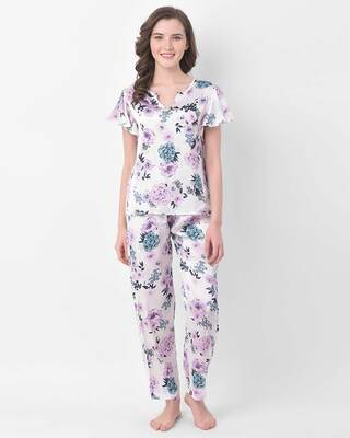 Shop Clovia Floral Print Top & Pyjama Set in White - Satin-Front