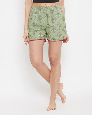 Shop Clovia Geometric Print Boxer Shorts In Sage Green - Rayon-Front