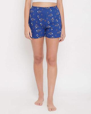 Shop Clovia Leaf Print Boxer Shorts in Royal Blue - Rayon-Front