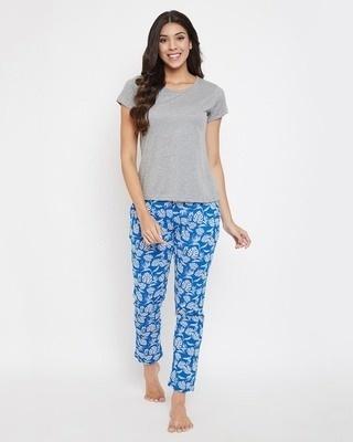 Shop Clovia Leaf Print Pyjama & Solid T-shirt Set-Front