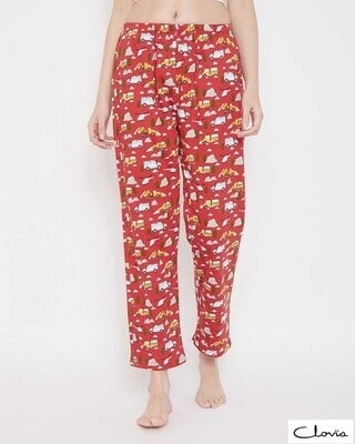 Shop Clovia Lorry Print Pyjama in Red-Front