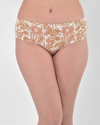 Shop Clovia Mid Waist Floral Print Hipster Panty with Inner Elastic in White - Cotton-Front