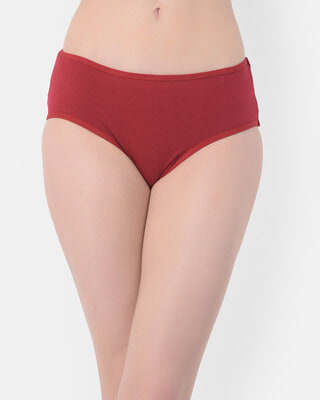 Shop Clovia Mid Waist Hipster Panty with Alligator & Heart Print Back in Maroon - Cotton-Front