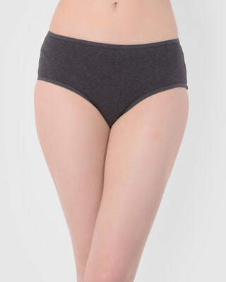 Shop Clovia Mid Waist Hipster Panty with Cat Print Back in Dark Grey - Cotton-Front